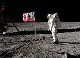 Apollo 11 Astronauts with flag on the Moon 1969