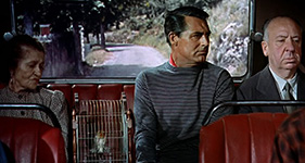 Cary Grant and Hitchcock photo shot from The Birds