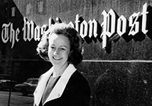Katharine Graham in front of Washington Post Offices