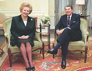 Margaret Thtcher and Ronald Reagan