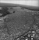 Aerial view of Woodstock Music Festival
