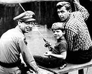 Don Knotts as Barney, Andy Griffith, and Ron Howard as Opie Taylor Fishing together on the Andy Griffith  Show