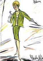 Edith Head sketch of suit from The Birds Movie